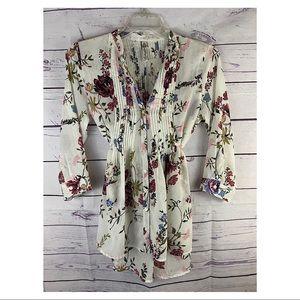 American Rag- Sheer Boho Style Floral Print Top